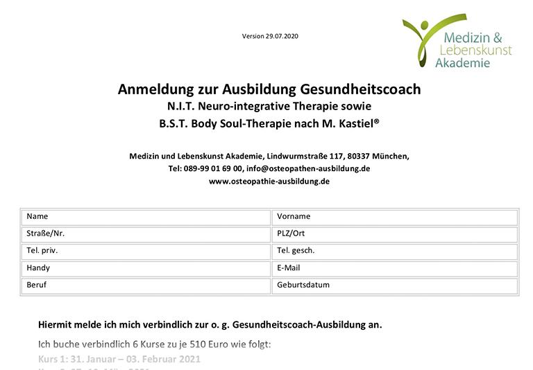 Anmeldeformular Gesundheitscoach..29.07.2020